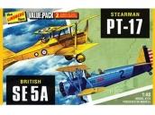 Склеиваемые пластиковые модели бипланов Hawk Lindberg (Stearman PT-17 & British SE 5A) 1:48